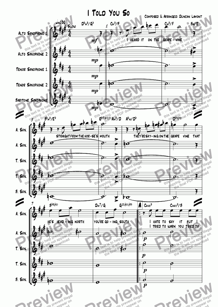 page one of I Told You So (Quintet)