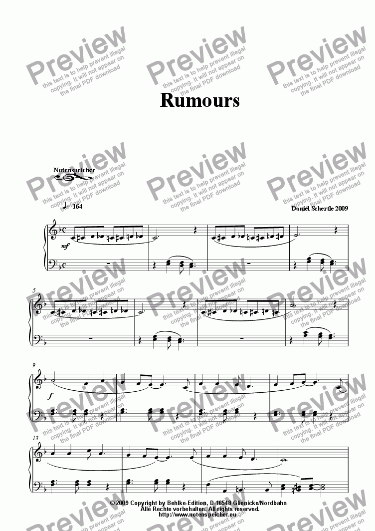 page one of Rumours (from Daniel Schertle's 20 Piano Sketches to Go)ASALTTEXT