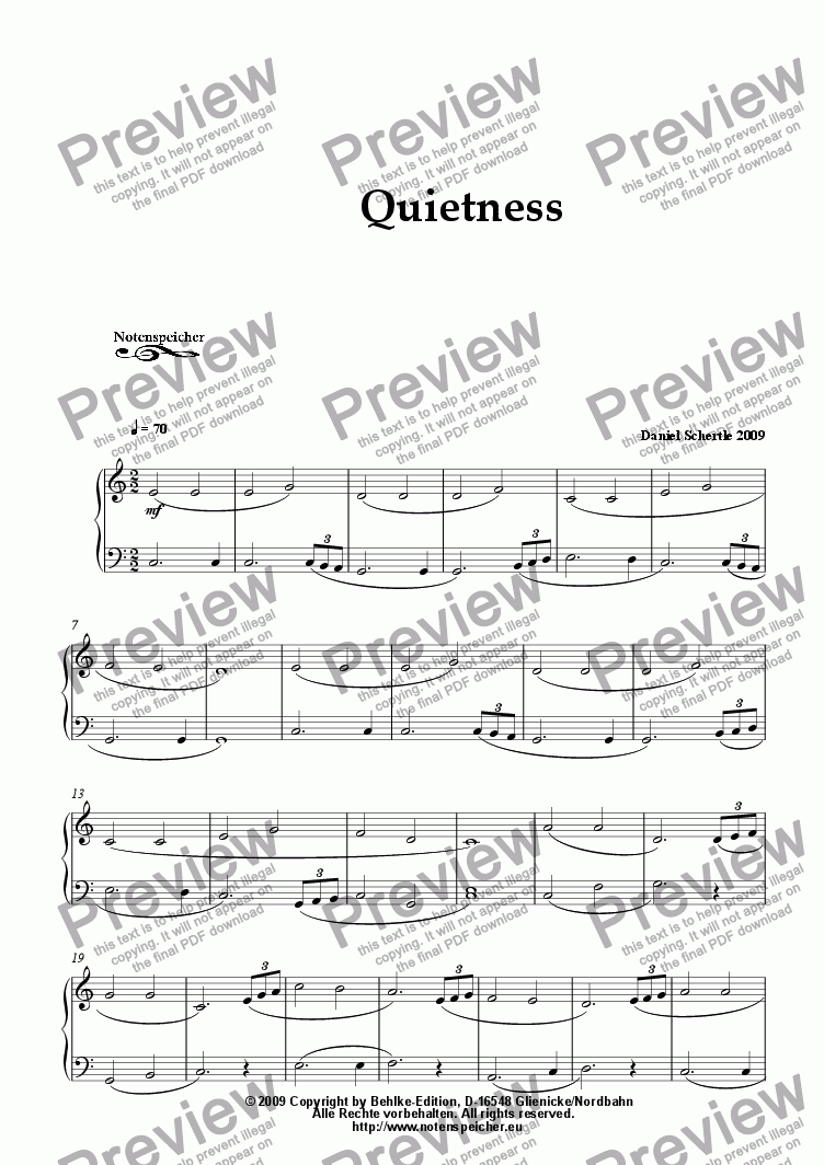 page one of Quietness (from Daniel Schertle's 20 Piano Sketches to Go)ASALTTEXT