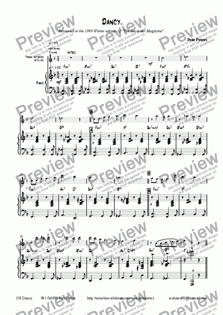 page one of Dancy [Pno + Rec or Flute]