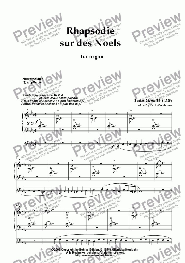 page one of Rhapsodie sur des Noels (for organ by E. Gigout)