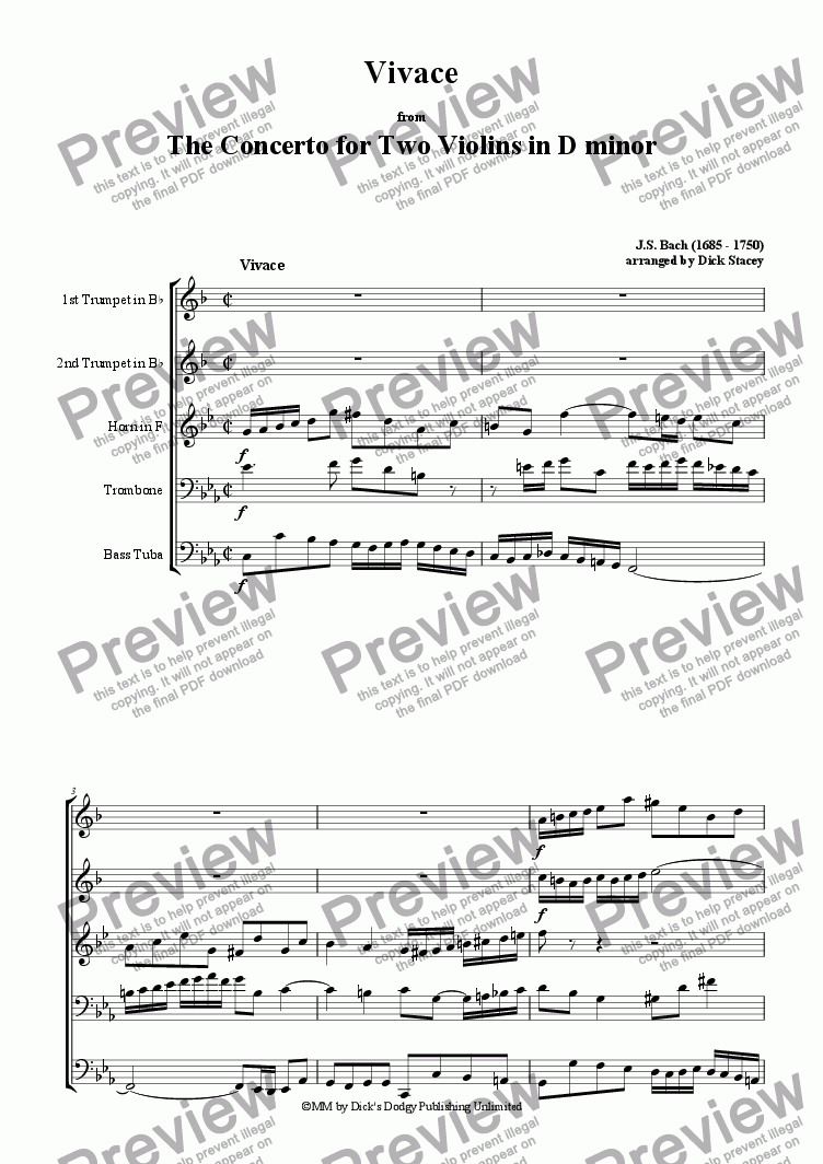 page one of Vivace - from the Double Concerto in D minor