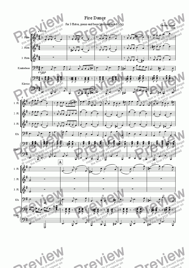 page one of Fire Dance (3 flutes,piano,bass)