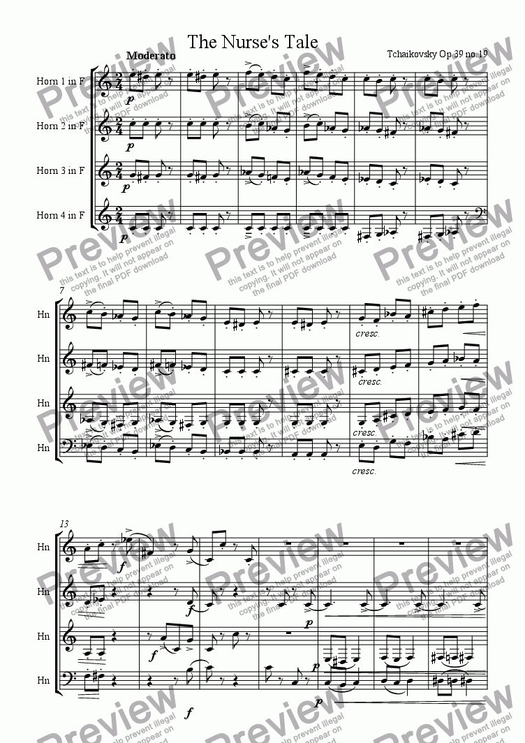 page one of The Nurse's Tale for Horn QuartetASALTTEXT