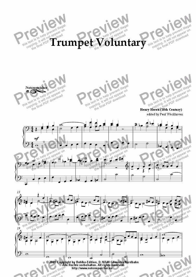 page one of Trumpet Voluntary in G (for organ by Th. H. Heron)