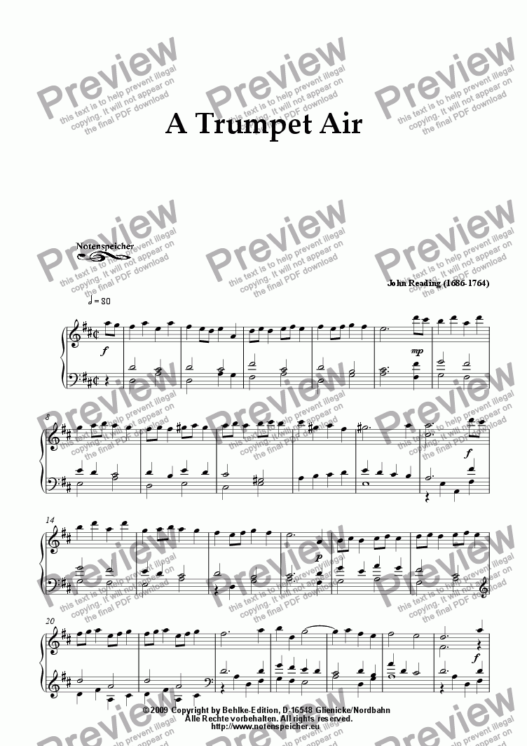 page one of A Trumpet Air (for small organ by J. Reading)ASALTTEXT