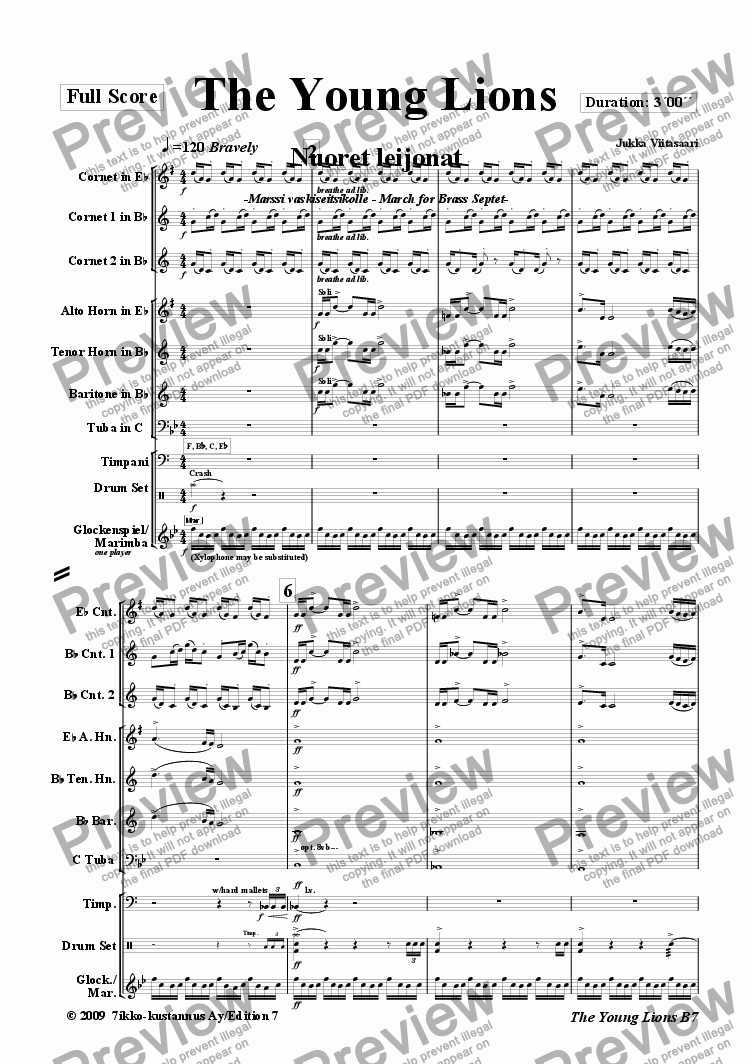 page one of The Young Lions (march for brass septet)
