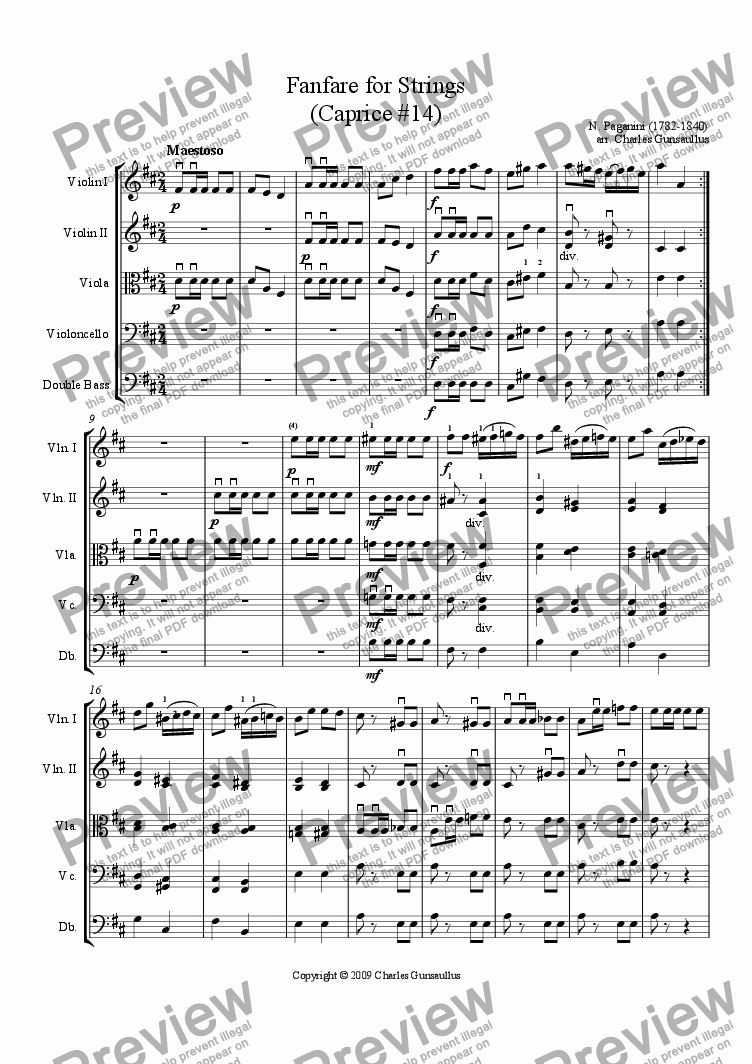 page one of Fanfare for Strings - Caprice #14