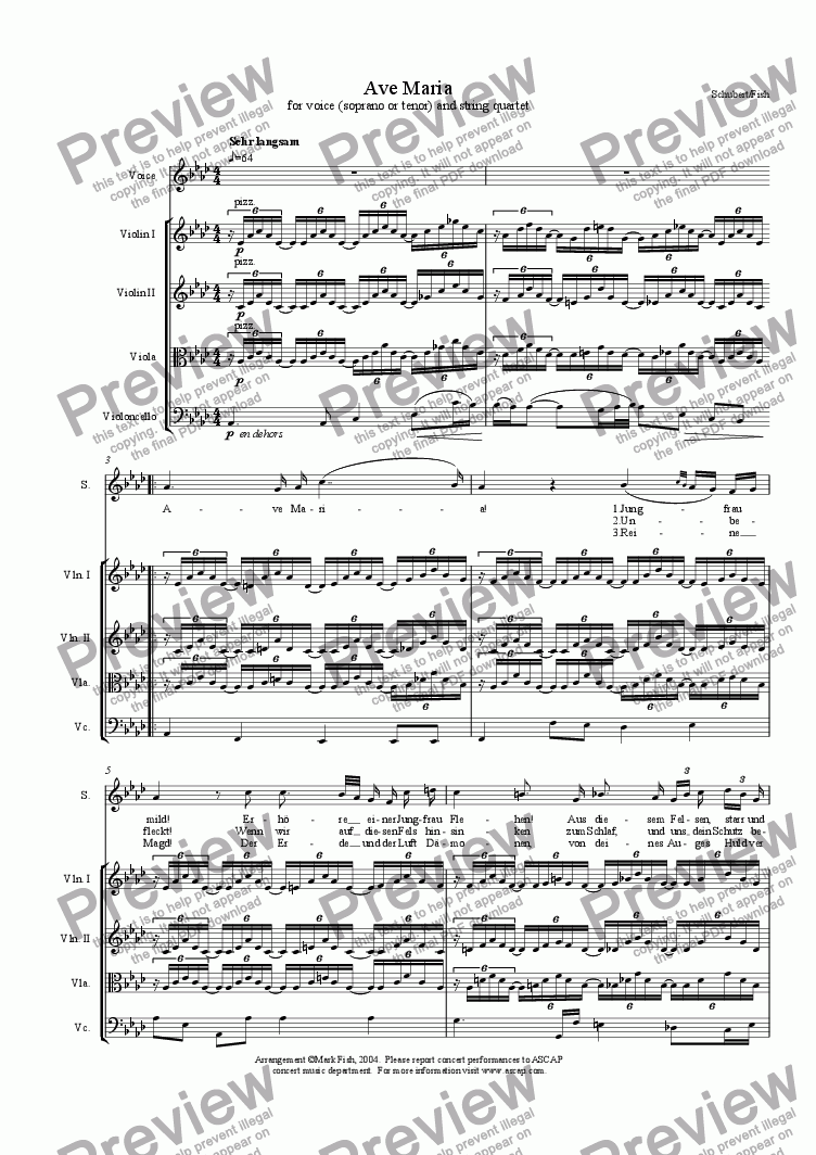 page one of Ave Maria for voice and string quartet (Schubert)