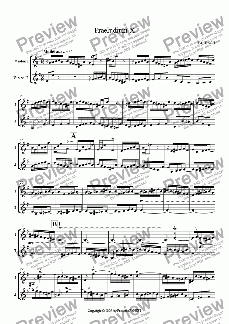 page one of Pr�lude X for Violins Duet by J.-S. BACH