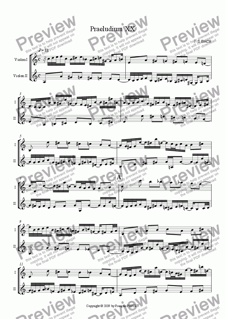 page one of Pr�lude XX for Violins Duet by J.-S. BACHASALTTEXT