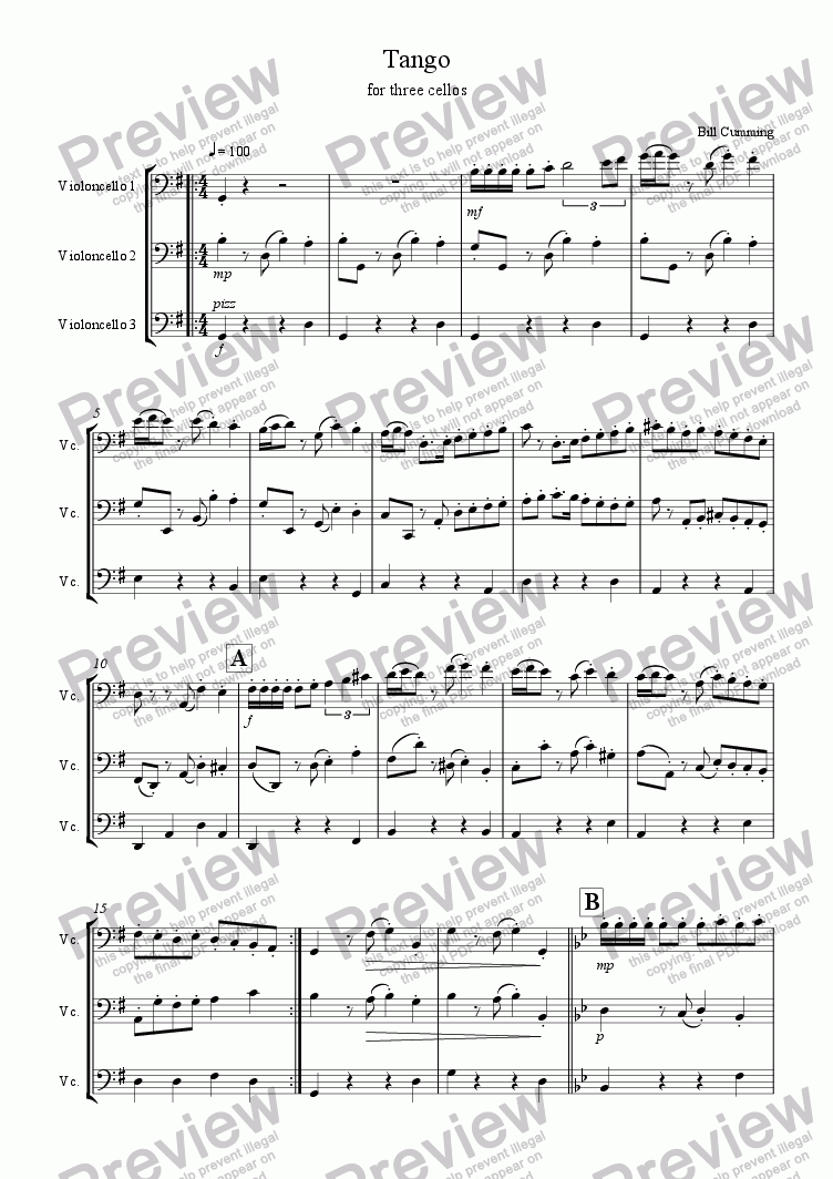 page one of Tango for Three Cellos