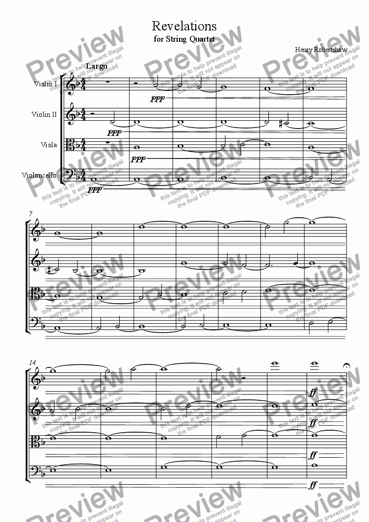 page one of Revelations (for String Quartet)