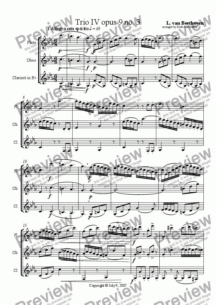 page one of Beethoven: Trio IV opus 9 No. 3 arrange for Flute, oboe, clarinet