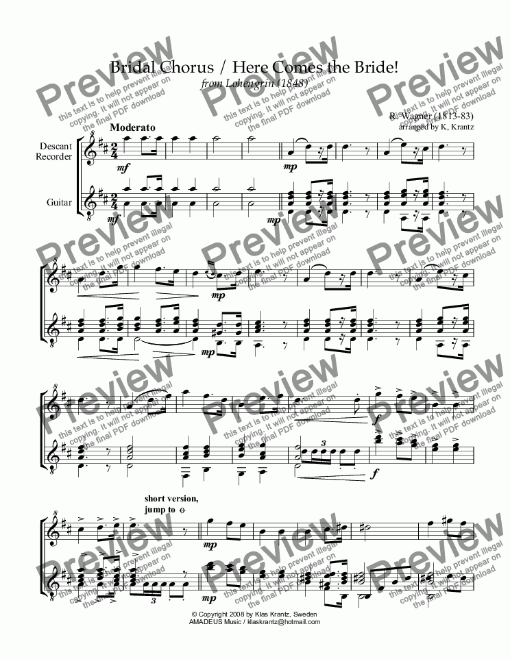 page one of Bridal chorus from Lohengrin - Here comes the bride! for descant recorder and guitar