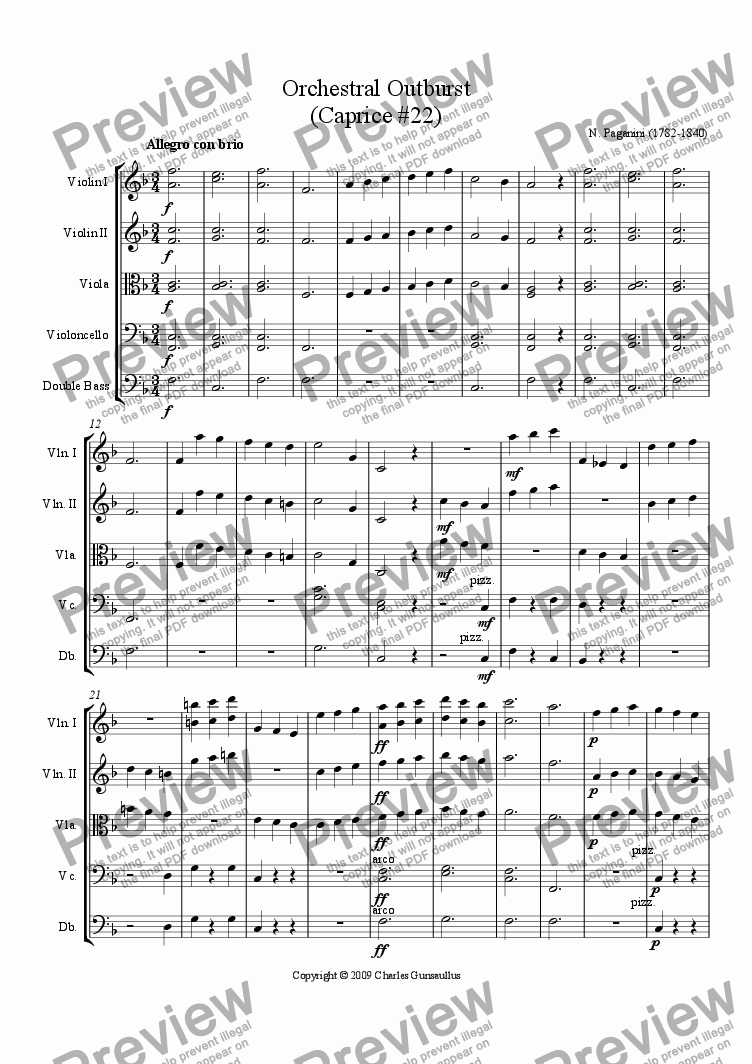 page one of Orchestral Outburst (Caprice #22)