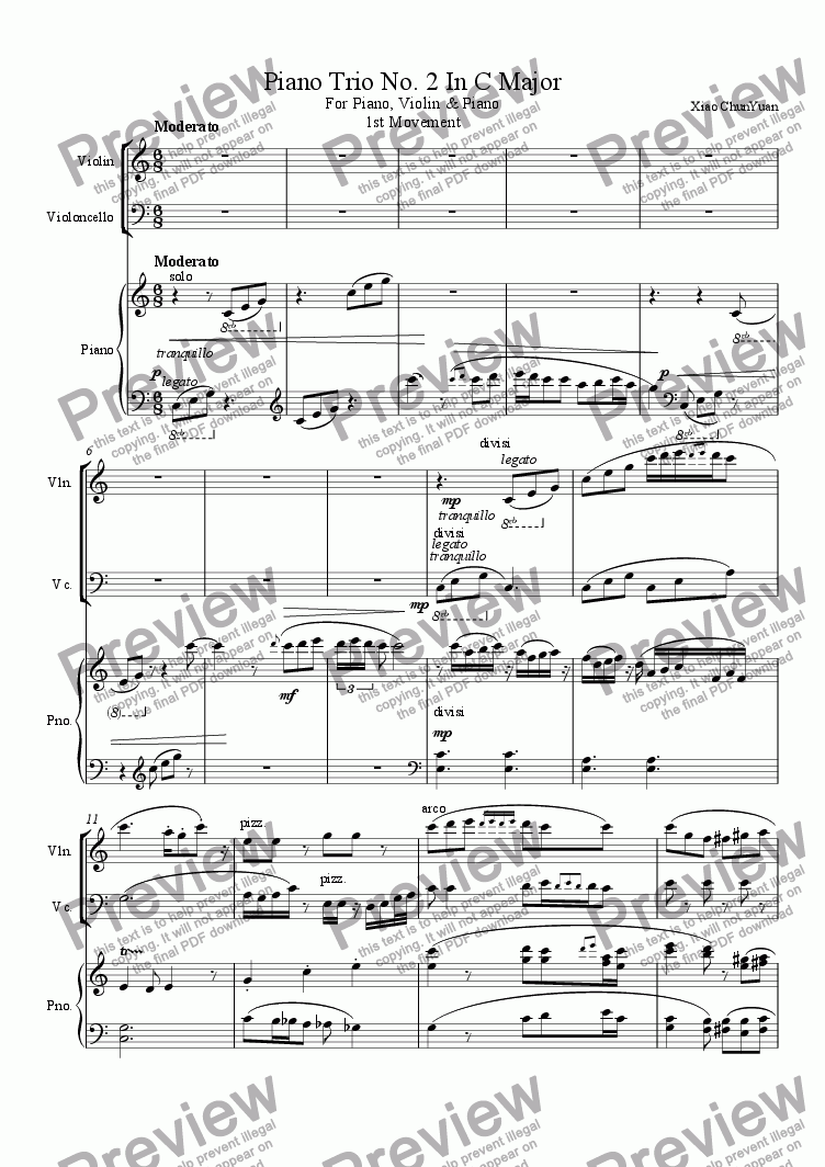 page one of Piano Trio No. 2 In C Major, 1st Movement
