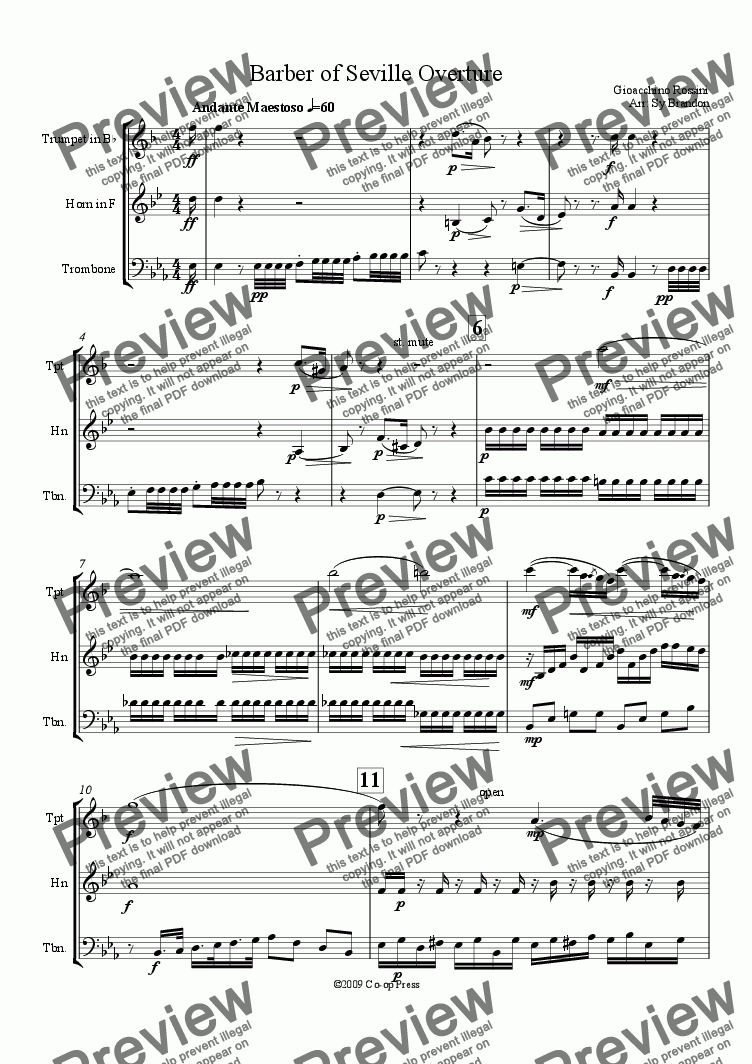 page one of Barber of Seville Overture for Brass Trio