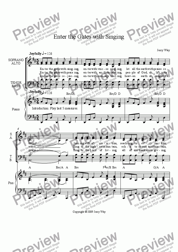 page one of Enter the Gates with Singing