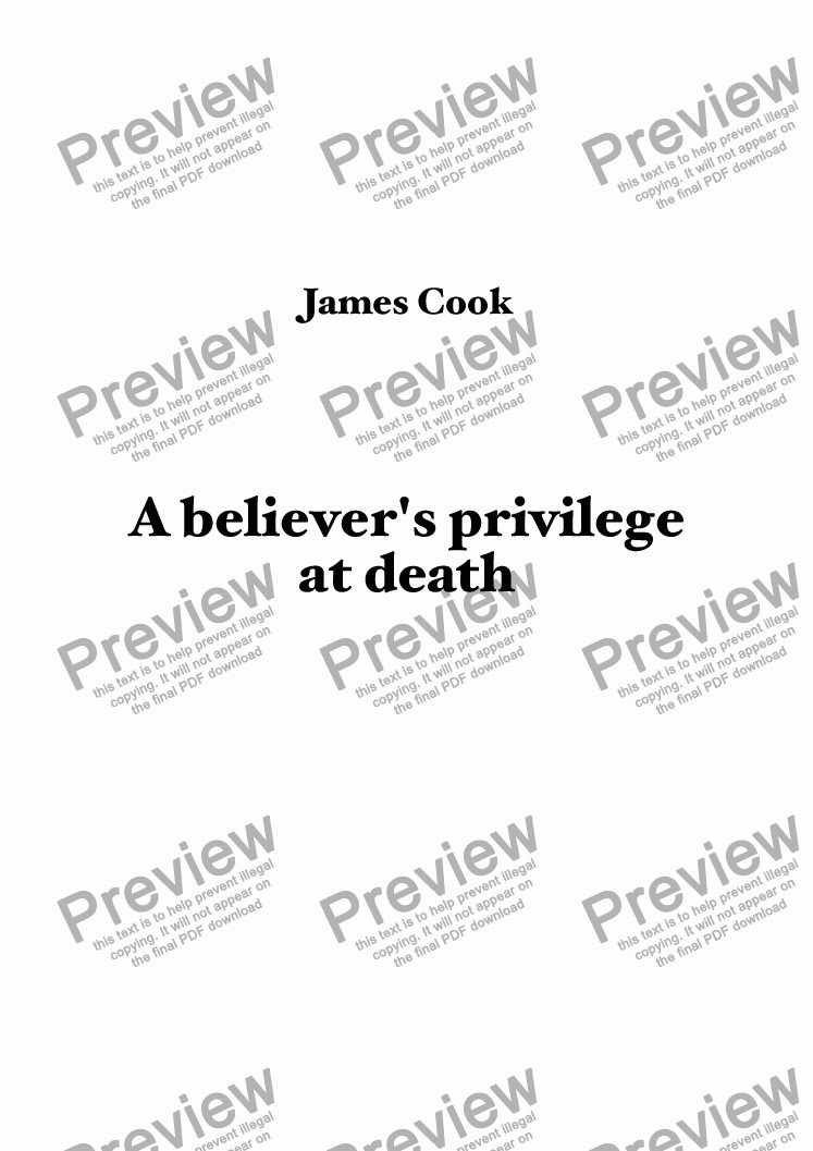 page one of A believer's privilege at death