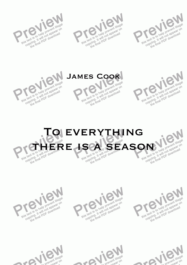 page one of To everything there is a season