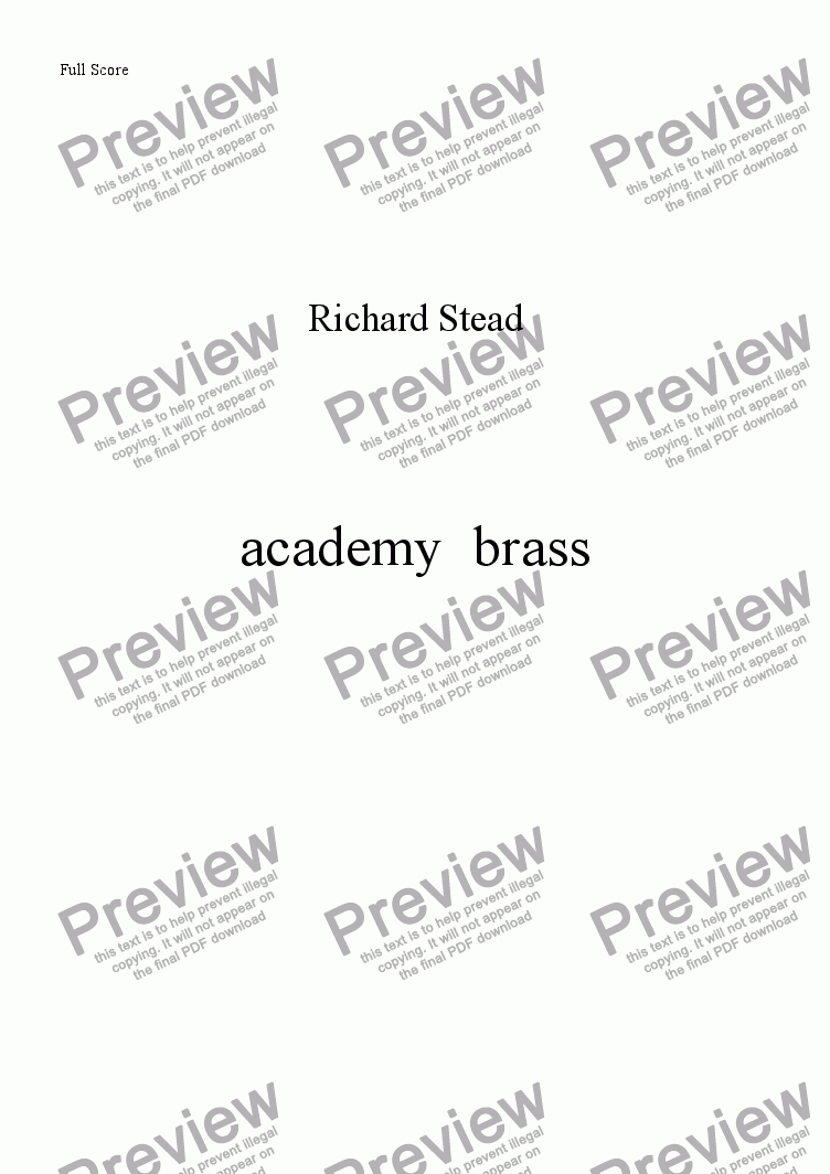page one of Academy Brass