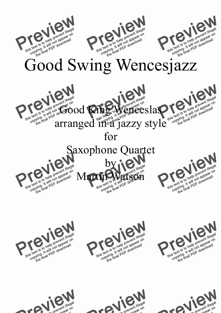 page one of Good Swing Wencesjazz for Saxophone Quartet