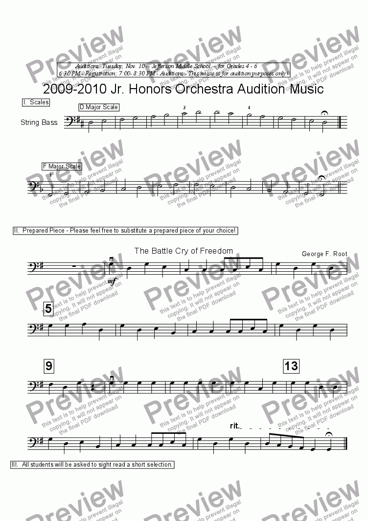 page one of 2009-2010 Jr. Honors String Bass Audition Music