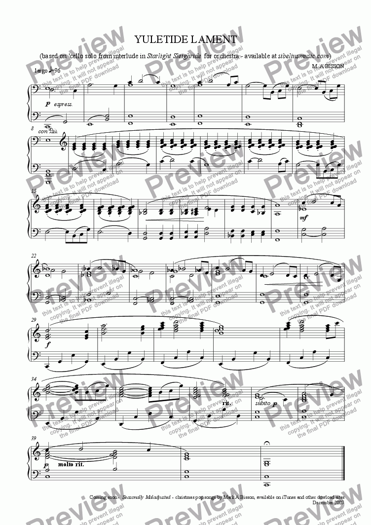 page one of Yuletide Lament (solo piano arrangement of interlude from Starlight Sleighride)